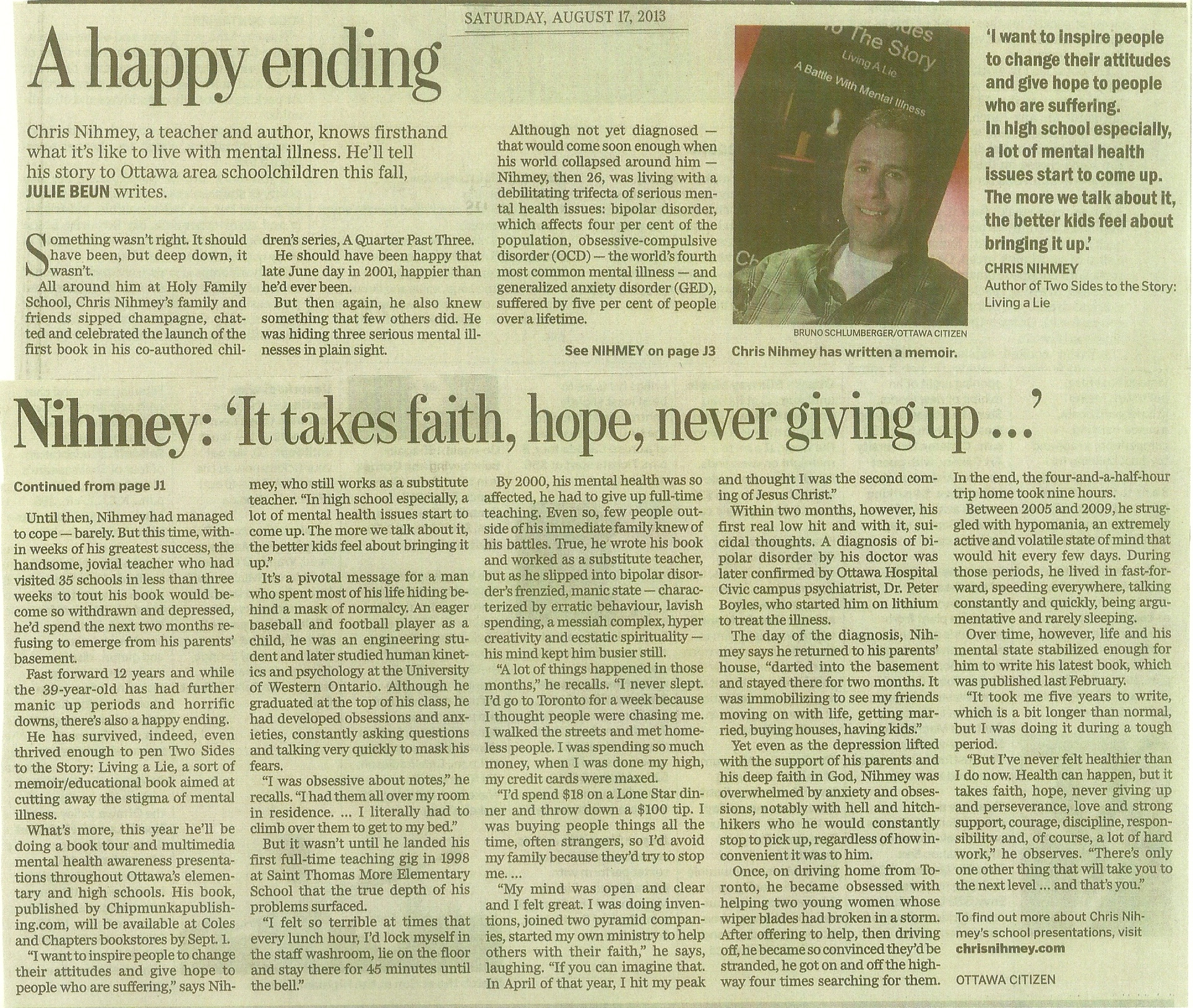 Chris Nihmey Ottawa Citizen Article